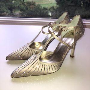 Delman taupe evening heels